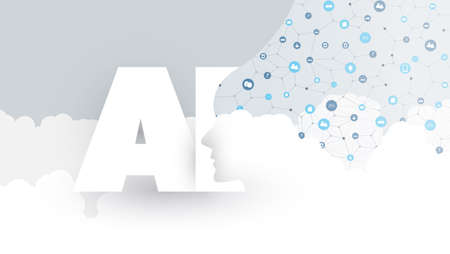 Modern Style Cloud Computing, Global AI, Virtual Assistance, Automated Support, Digital Aid, Deep Learning and Future Technology Concept Design with Icons, Clouds and Human Head