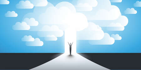 New Possibilities, Hope, Dreams - Business, Solutions Finding Concept - Man Standing in Front of a Door, Under the Cloudy Sky, Light at the End of the Road Standard-Bild - 115451547