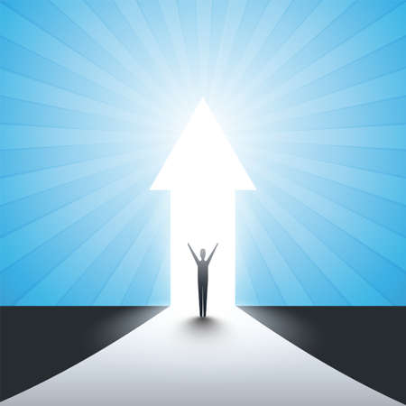 New Possibilities, Hope, Dreams - Business, Solutions Finding Concept - Man Standing in Front of a Door, Light at the End of the Road Standard-Bild - 115451548