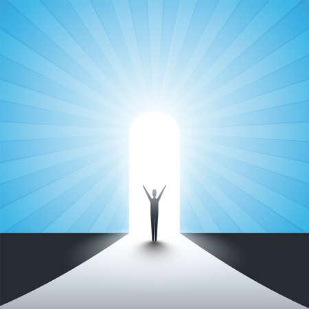 Nuevas posibilidades, esperanza, sueños, negocios, soluciones, concepto de búsqueda, hombre parado frente a una puerta, luz al final del camino Ilustración de vector