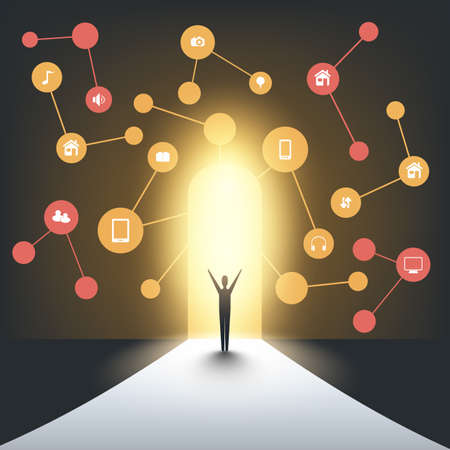 New Possibilities - Business, Solutions Finding, Cloud Computing Design Concept with a Standing Business Man and Icons - Digital Network Connections, Technology Background