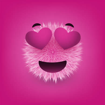 Smiling Face With Heart Shaped Eyes - Furry Happy Emoticon on Purple Background - Vector Design Vetores