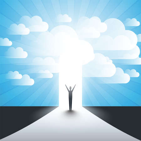 New Possibilities, Hope, Dreams - Business, Solutions Finding Concept - Man Standing in Front of a Door, Under the Cloudy Sky, Light at the End of the Road Standard-Bild - 117161506