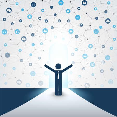 Neue Möglichkeiten - Business, Lösungsfindung, Cloud-Computing-Designkonzept mit einem stehenden Geschäftsmann und Icons - Digitale Netzwerkverbindungen, Technologiehintergrund