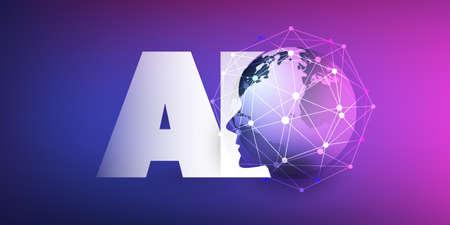 Machine Learning, Intelligenza Artificiale, Cloud Computing e Networks Design Concept con Earth Globe, Network Mesh e AI Label Vettoriali