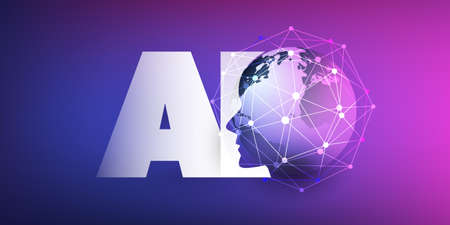 Machine Learning, Artificial Intelligence, Cloud Computing and Networks Design Concept with Earth Globe, Network Mesh and AI Label Illustration