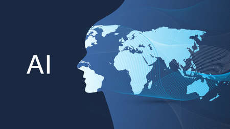 Machine Learning, Artificial Intelligence, Cloud Computing, Global Automated Support Assistance and Networks Design Concept with World Map, Wavy Pattern and Human Head Illustration