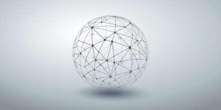 Networks - Transparent Ploygonal Globe Design on Grey Wide Background