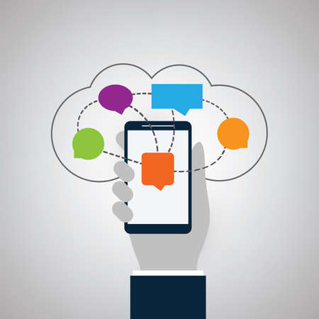 Cloud Computing Design Concept with Colorful Speech Bubbles - Online Messaging, Digital Network Connections, Technology Background