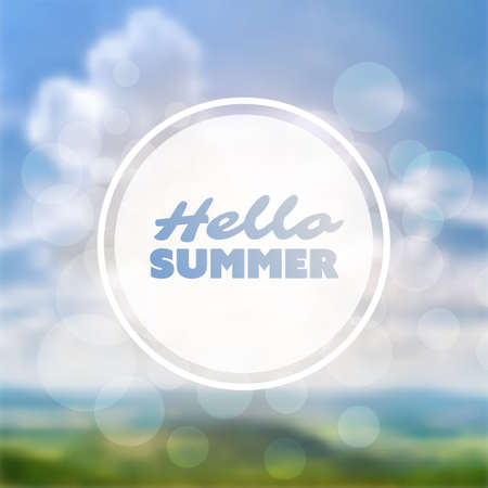 Inspirational Sentence for Seasons Start - Hello Summer Label on Blurred Image of Cloudy Sky and Horizon Background