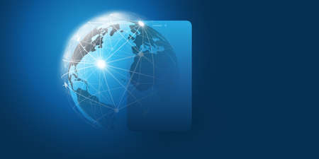 Global Networks Design with Earth Globe and Laptop - Vector Template for Your Business
