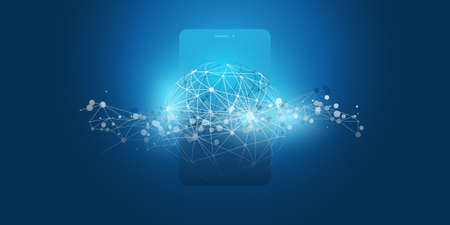 Dark Blue 3D Global Networks Design with Network Mesh and Smartphone Silhouette