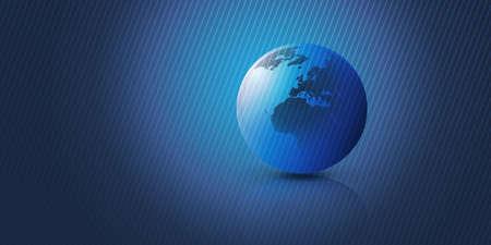 Blue Earth Globe Design Layout with Striped Background - Global Business, Technology, Globalisation Concept, Vector Template Ilustração