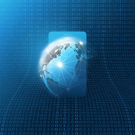 Global Networks Design with Network Mesh, Earth Globe and Smartphone Silhouette on Binary Code Pattern Background Ilustração
