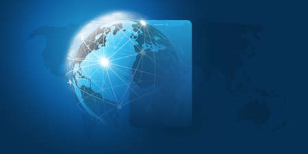 Global Networks Design with Network Mesh, Earth Globe and Smartphone Silhouette - Vector Template for Your Business