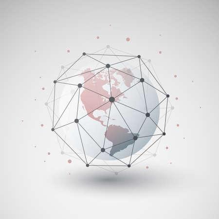 Cloud Computing and Networks Design Concept with Polygonal Sphere and Earth Globe - Big Data, Global Access Vektoros illusztráció