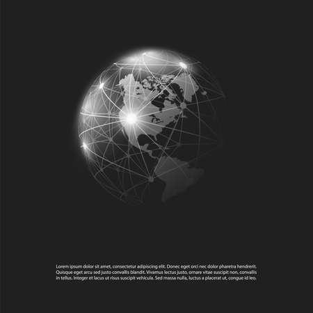 Dark Cloud Computing and Global Networks Concept Design with Earth Globe Ilustração