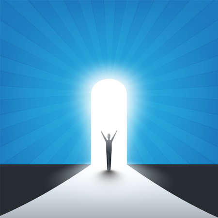 New Possibilities, Hope - Business Finding Solution Vector Concept - Businessman Standing at an Entrance, Light at the End of the Way