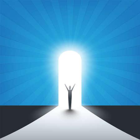 Nuevas posibilidades, esperanza - concepto de Vector de solución de búsqueda empresarial - empresario de pie en una entrada, luz al final del camino Ilustración de vector