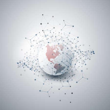 Nuage de style minimal moderne rouge et gris, structure de réseaux, conception de concept de télécommunications, connexions réseau, filaire géométrique transparent Vecteurs