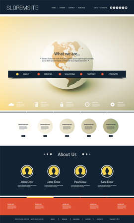 Colorful Website Design for Your Business with Earth Globe Vetores
