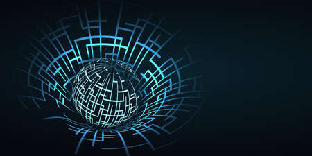 Global Networks - Abstract Transparent Globe Design, Technology Template with Copyspace Ilustração