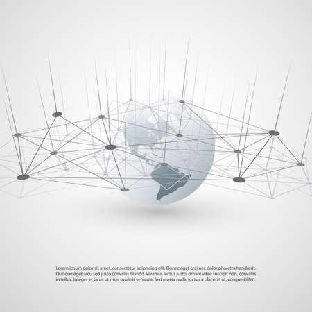 Computación en la nube y diseño de redes: conexiones digitales globales, ilustración del concepto de Internet