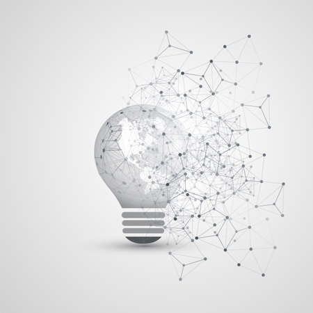Abstract Electricity, Cloud Computing and Global Digital Network Connections Concept Design with Earth Globe Inside of a Light Bulb, Transparent Geometric Mesh Ilustração Vetorial