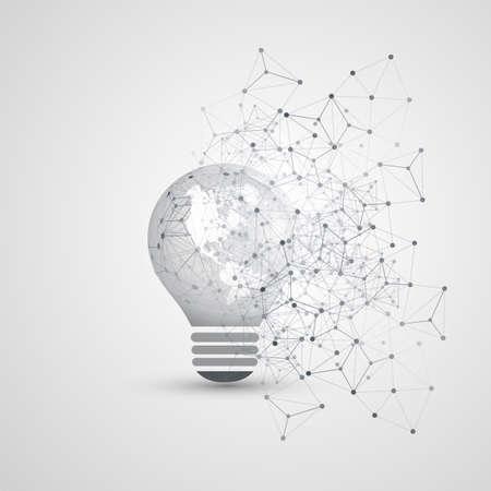 Elettricità astratta, cloud computing e connessioni di rete digitale globale Concept Design con globo terrestre all'interno di una lampadina, maglia geometrica trasparente Vettoriali