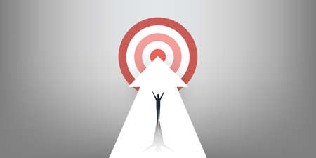 New Possibilities, Hope, Dreams - Business Achievements, Solution Finding Concept - Man Standing on a Big Up Arrow Pointing to the Target