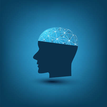 Machine Learning, Artificial Intelligence, Cloud Computing, Automated Support Assistance and Networks Design Concept with Wireframe and Human Head