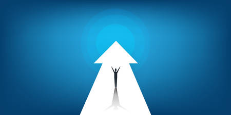 New Possibilities, Hope, Dreams - Business Achievements, Solutions Finding Concept - Man Standing on a Big Up Arrow