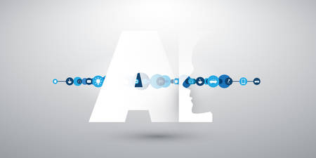 Machine Learning, Artificial Intelligence, Cloud Computing and Networks Design Concept with Icons and AI Label