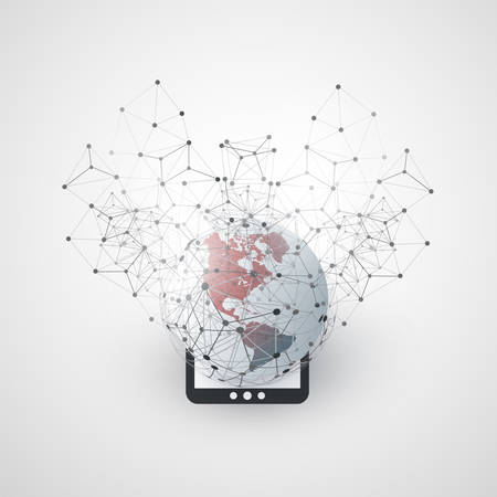 Cloud Computing and Networks Concept Design with Tablet PC, Earth Globe and Wire Frame
