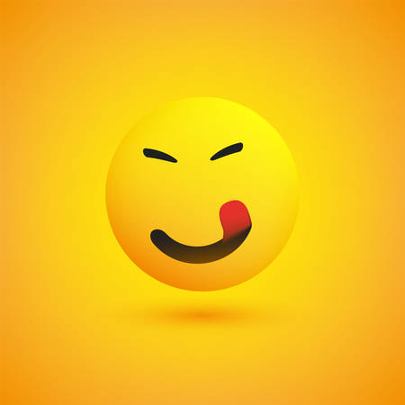 Smiling Emoji with Stuck Out Tongue - Simple Happy Emoticon on Yellow Background