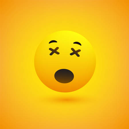 Dizzy Face - Emoticon in Front of a Yellow Background, Vector Design, Concept Illustration Vectores