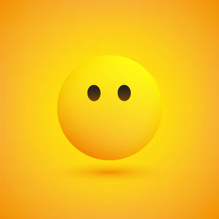 Mouthless Face - Emoticon in Front of a Yellow Background