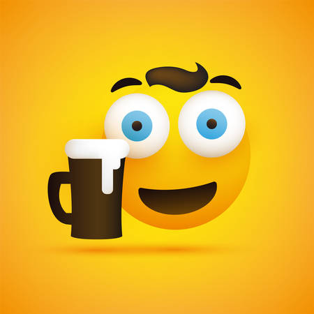 Smiling Emoji - Simple Happy Emoticon with Pop Out Eyes and a Glass of Beer on Yellow Background