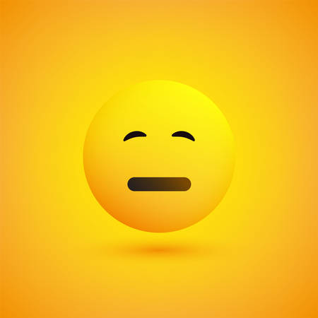 Neutral Face - Emoticon in Front of a Yellow Background, Vector Design