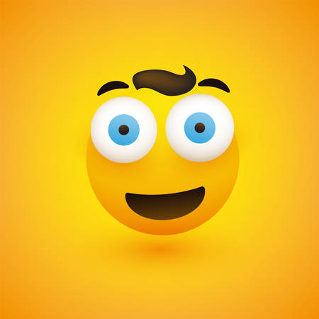 Smiling Emoji - Simple Happy Emoticon with Pop Out Eyes on Yellow Background Illustration