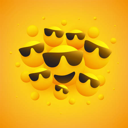 Lots of Smiling Faces With Sunglasses - Emoticons in Front of a Yellow Background, Vector Design