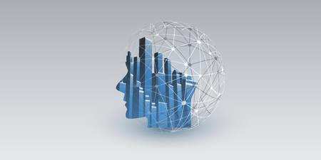 Smart City, controllo digitale automatizzato, deep learning, intelligenza artificiale e tecnologia futura Concept Design con connessioni di rete, paesaggio urbano e testa umana - illustrazione vettoriale