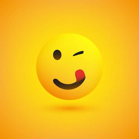 Sonriendo, guiñando un ojo y lamiendo la boca Emoji con lengua pegada - Emoticon feliz simple sobre fondo amarillo - Diseño vectorial