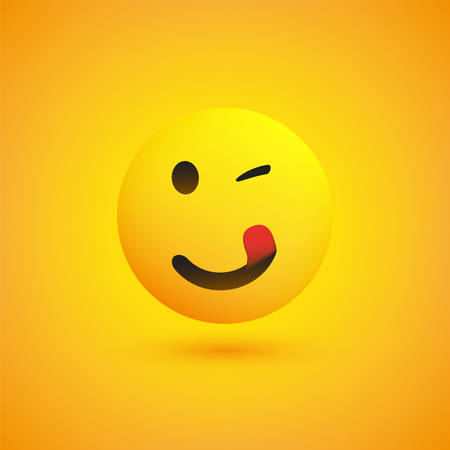Smiling, Winking and Mouth Licking Emoji with Stuck Out Tongue - Simple Happy Emoticon on Yellow Background - Vector Design