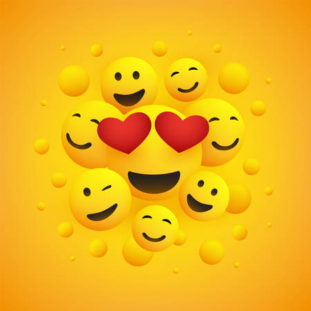 Various Smiling Happy Emoticons with Heart Shaped Eyes in Front of a Yellow Background, Vector Design
