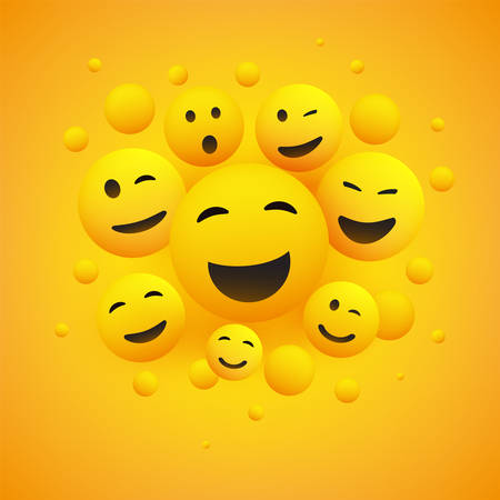 Various Smiling and Laughing Happy Emoticons in Front of a Yellow Background, Vector Concept