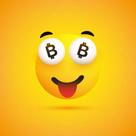 Smiling Emoji with Bitcoin Signs in the Eyes - Simple Happy Emoticon on Yellow Background - Vector Design Illustration
