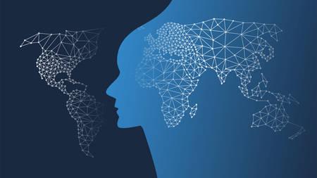 Apprentissage automatique, intelligence artificielle, cloud computing et concept de conception de réseaux avec maillage géométrique, carte du monde à motifs de réseau, connexions mondiales Vecteurs