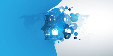 Abstract Technology, Machine Learning, Artificial Intelligence, Cloud Computing, Automated Support Assistance Design Concept