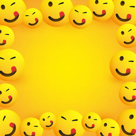 Cadre de fond avec Emoji souriant, clignotant et léchant la bouche avec langue coincée Vecteurs